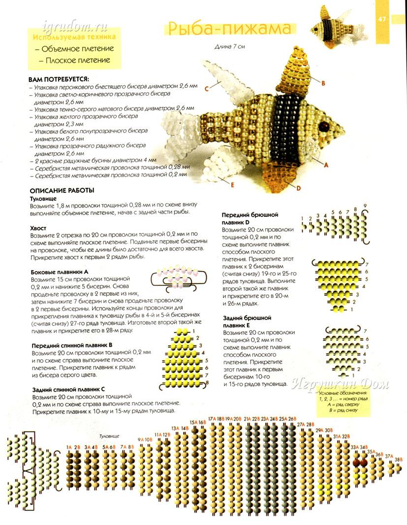 объемная золотая рыбка из бисера - О том, как плести бисером. gallery.forum-grad.ru.